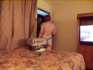 wife flashing delivery man