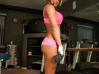 Sexy fitness babe workout and takes off her her sey gym outfit
