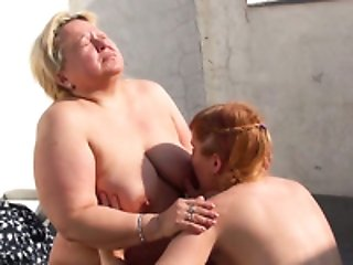 Nasty granny just cannot get enough of her lesbian friend's pussy