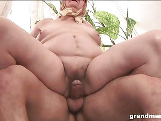 Elderly unshaved grannie is hungry for a youthful manmeat