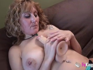 Monstrous titted Nuria boning herself
