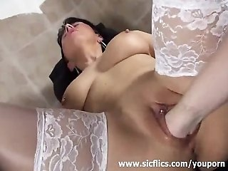Busty brunette milf fisted by her gyno doctor