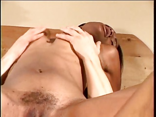 Ebony babe gets her perky tits and tight pussy licked by white guy then fucks