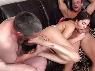 Valentina Nappi and her cuckold in a threesome