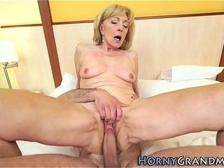 Sizzling grannie gets cum ssizzling