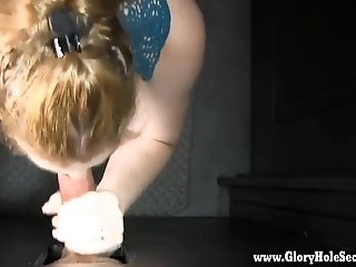 Young housewife loves sucking cock and swallowing cum at the gloryhole secrets