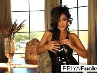 Dining apartment joy with uber-sexy Priya Rai and a golden massager