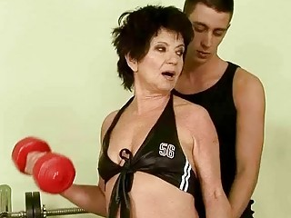 Granny gets fucked by her young trainer