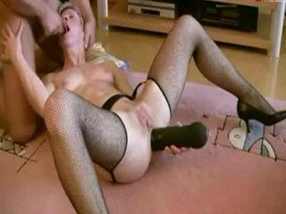 wife playing with dildo and the cock
