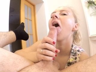Blondie eating Her Man's ballsack and donk