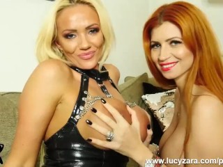 Buxom towheaded Lucy Zara taunts and plays with wondrous  gf pounds huge fucktoy