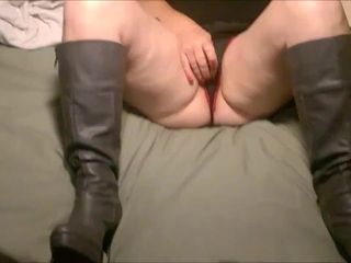 Crotchless g-string and shoes playing