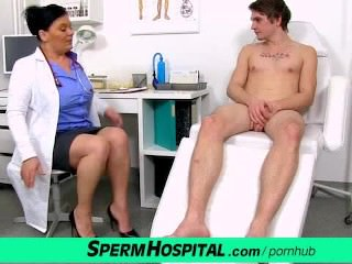 Czech milf doctor Danica milking huge cock of a boy