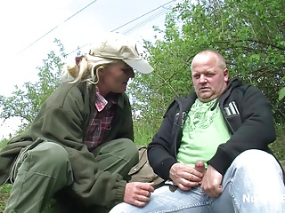 German Skinny 61yr old Granny fuck outdoor with Stranger