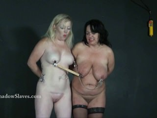 Two amateur bdsm slaves tit tortured and cruel domination of blonde submiss
