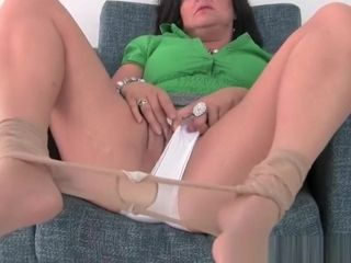 Chesty mature mother in milky undies and stockings