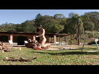 Lusty latinas have wild sex by the pool with stud