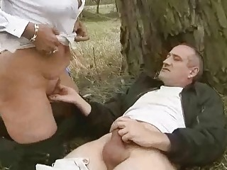 Grandpa fucks grandma hard outdoor