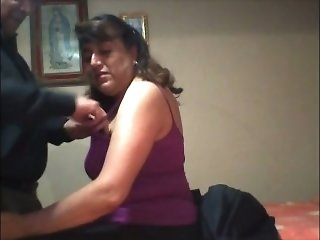 Chubby super ugly mature bitch tried to demonstrate her cock sucking skills