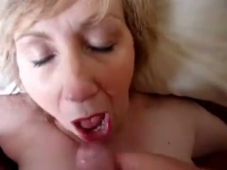 My short haired mature blonde wifey keeps on sucking my dick