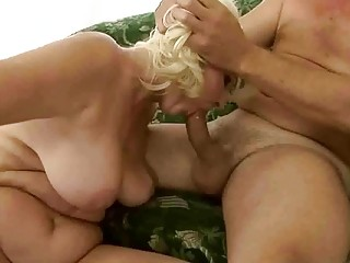 Naughty fat grandma having sex with old guy