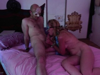 My wifey deep-throats me and bust with my man rod