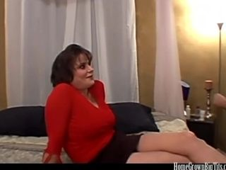Brief haired big-boobed cougar has her coochie plowed in sofa