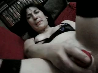 My mature brunette wife uses dildo to pet her hungry vagina