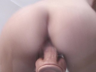 Thin dame rails Mounted fuck stick on Glass Table Top with phat unload ejaculation