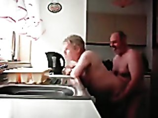 Hidden cam in the kitchen catches my grandpa and grandma