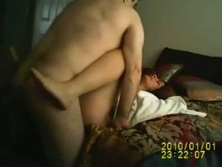 My horn-mad hubby eats and polishes my pussy missionary style