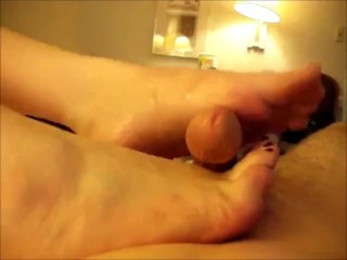 Footfuck with lots of precum