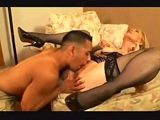 Milf Nina Hartley Squirts while fucking hard in stockings and heels!