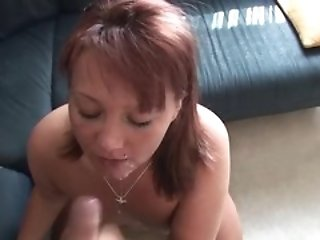 Chubby brunette loves to suck cock